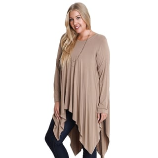 Beige Cotton and Polyester Shark Bite Hem Tunic Top