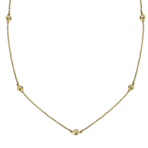 14k Gold 0.35ct TDW Diamonds 24 Inch Necklace