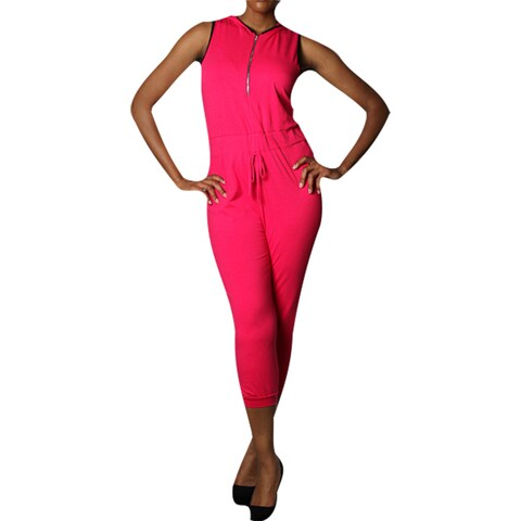 Pink Cotton Plus-size Hooded Jumpsuit