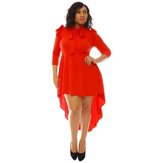 Women's Red Polyester High-low Neck-tie Puffy-sleeve Midi Dress