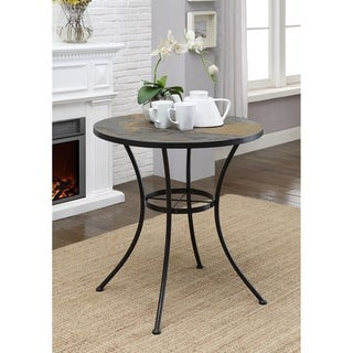Slate and Metal Rustic Round Dining Height Table