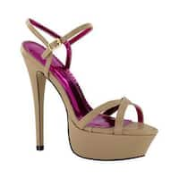 Women's Johnathan Kayne Nacona Platform Sandal Taupe Polyurethane