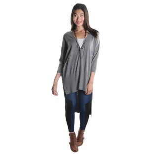 Hadari Women's Gray Button Down High Low V-Neck Medium Sleeve Cardigan