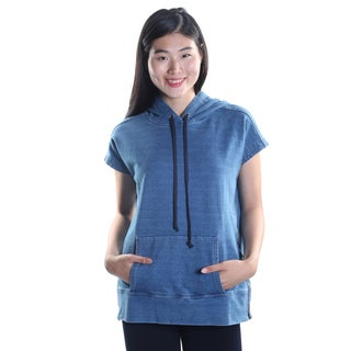 Hadari Women's Hooded Cap Sleeve Denim Casual Pullover Hoodie Shirt