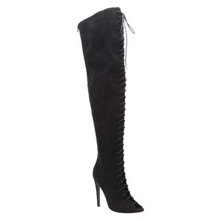 QUPID FE11 Women's Lace-up Over The Knee Stiletto High Heel Boot Half Size Small