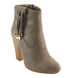 Nature Breeze FD96 Women's Strappy Pull-tab High Block Heel Ankle Booties (More options available)