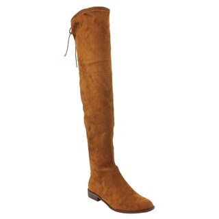 Yoki Women's Faux-suede Drawstring Side-zipper Thigh-high Boots