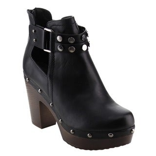 Nature Breeze Women's Studded Platform Side-elastic Goring Ankle Bootie