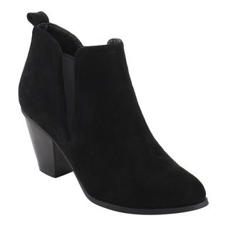 Nature Breeze Women's FD98 Faux Suede Pull-on Elastic Block Heel Chelsea Ankle Booties