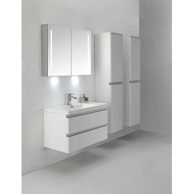 Eviva Glazzy 36-Inch Wall Mount High Glossy White Modern Bathroom Vanity