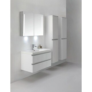 Eviva Glazzy 36-Inch Wall Mount High Glossy White Modern Bathroom Vanity