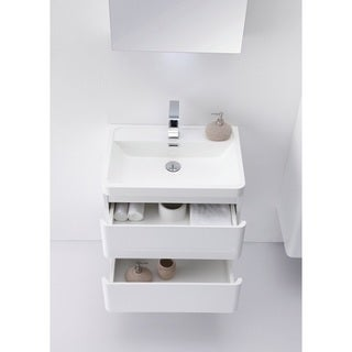 shop eviva glazzy 24 inch wall mount modern bathroom vanity high glossy white white free. Black Bedroom Furniture Sets. Home Design Ideas