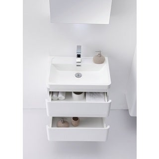 Eviva Glazzy 24-Inch Wall Mount Modern Bathroom Vanity (High Glossy White)