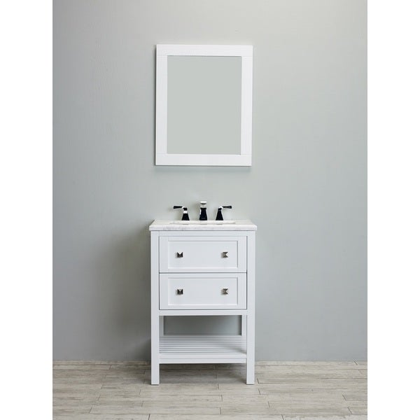 Eviva Natalie F. 24-Inch White Bathroom Vanity with White Jazz Marble Counter-