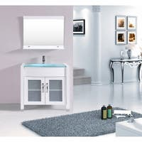 Eviva Roca 36-Inch White Bathroom Vanity cabinet with Integrated Glass Tempered Sink