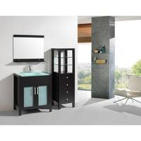 Eviva Roca 36-Inch Espresso Bathroom Vanity cabinet with Integrated Glass Tempered Sink