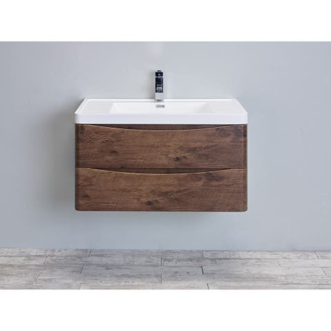 Eviva Smile 36 inch Rosewood Wall Mount Modern Bathroom Vanity with White Integrated Acrylic Top