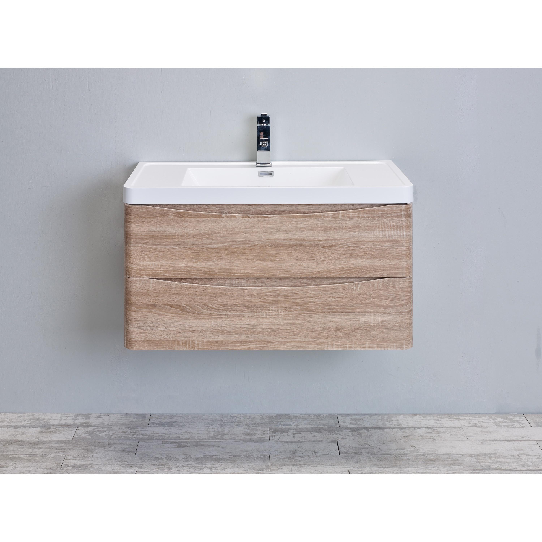 White Oak Modern Bathroom Vanity Set