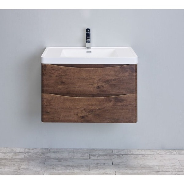 valentino ii modern bathroom vanity set sets sale oslo 24 inch smile rosewood integrated white acrylic sink