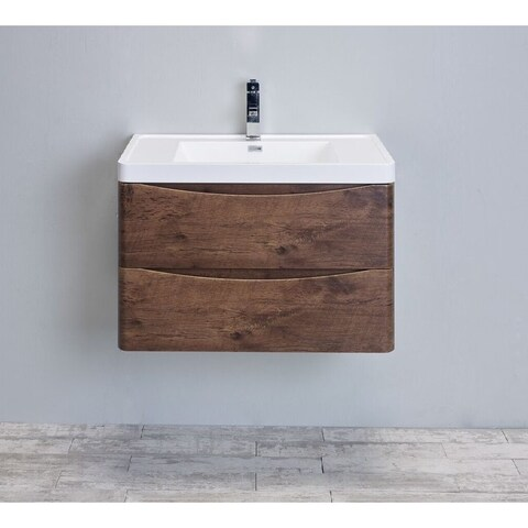 Eviva Smile 30-Inch Rosewood Modern Bathroom Vanity Set with Integrated White Acrylic Sink