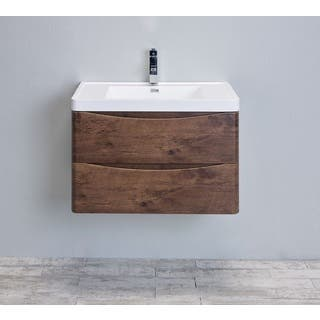 Eviva Smile 30 Inch Rosewood Modern Bathroom Vanity Set With Integrated White Acrylic Sink