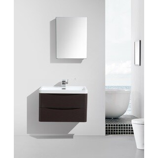 Eviva Smile 30-Inch Chest-nut Modern Bathroom Vanity Set with Integrated White Acrylic Sink