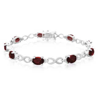 11 Carat Garnet and Diamond Bracelet, Platinum Overlay, 7 Inches