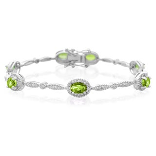 5 Carat Peridot and Diamond Bracelet, Platinum Overlay, 7 Inches
