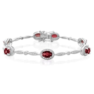 5 Carat Garnet and Diamond Bracelet, Platinum Overlay, 7 Inches