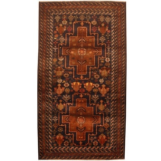 Herat Oriental Afghan Hand-knotted 1960s Semi-antique Tribal Balouchi Wool Rug (2'8 x 4'9)