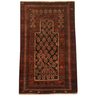 Herat Oriental Afghan Hand-knotted 1960s Semi-antique Tribal Balouchi Wool Rug (2'6 x 4'1)