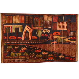 Herat Oriental Afghan Hand-knotted 1960s Semi-antique Tribal Balouchi Wool Rug (3' x 4'7)