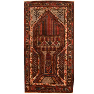 Herat Oriental Afghan Hand-knotted 1960s Semi-antique Tribal Balouchi Wool Rug (2'7 x 4'7)