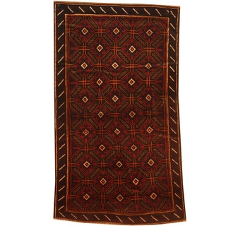 Herat Oriental Afghan Hand-knotted 1960s Semi-antique Tribal Balouchi Wool Rug (2'9 x 4'10)