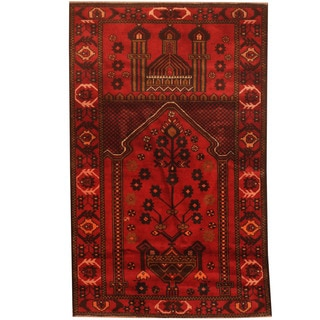 Herat Oriental Afghan Hand-knotted 1960s Semi-antique Tribal Balouchi Wool Rug (2'8 x 4'5)