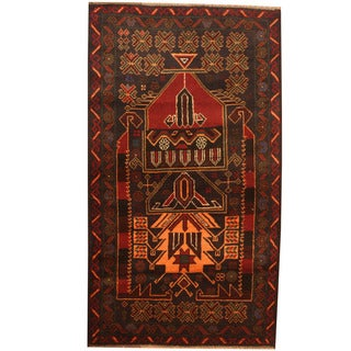 Herat Oriental Afghan Hand-knotted 1960s Semi-antique Tribal Balouchi Wool Rug (2'8 x 4'8)