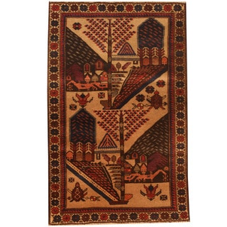 Herat Oriental Afghan Hand-knotted 1960s Semi-antique Tribal Balouchi Wool Rug (2'10 x 4'3)