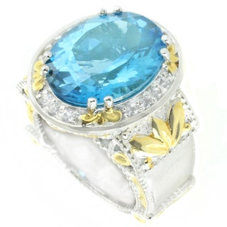 One-of-a-kind Michael Valitutti Blue Topaz and White Sapphire Cocktail Ring (Size 6)