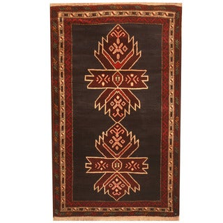 Herat Oriental Afghan Hand-knotted 1960s Semi-antique Tribal Balouchi Wool Rug (2'9 x 4'8)