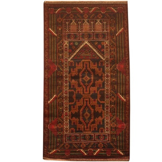 Herat Oriental Afghan Hand-knotted 1960s Semi-antique Tribal Balouchi Wool Rug (3' x 5')