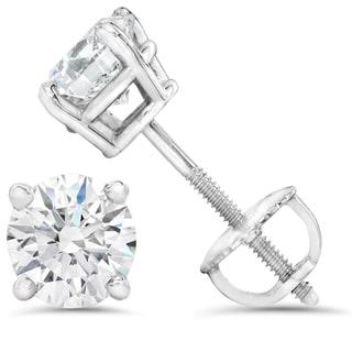 14k White Gold 1/2ct TDW Diamond IGI Certified Screwback Studs (I-J/SI1-I1)