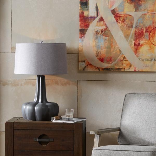 Ink+Ivy Calabazas Black Ceramic Base Table Lamp