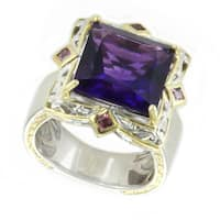 Michael Valitutti African Amethyst and Rhodolite Cocktail Ring
