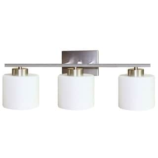 Fulton 3-light Bath Vanity Light Fixture in Satin Nickel Finish with White Etched Opal Glass Shades