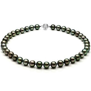 DaVonna 14k White Gold 8-10mm Round Black South Sea Tahitian High Luster Pearl Necklace 18""