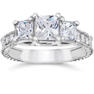 14k White Gold 2 ct TDW Vintage Three Stone Princess Cut Diamond Engagement Ring (H-I,SI2-I1)