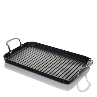 Curtis Stone DuraPan Nonstick Double-burner Grill Pan with 10 Recipe Cards (Option: Black)