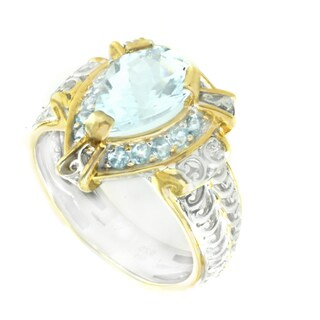 One-of-a-kind Michael Valitutti Aquamarine and Aqua Blue Topaz Cocktail Ring