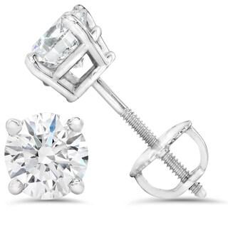 14k White Gold 1ct TDW Diamond IGI Certified Screwback Studs (I-J, SI1-I1)
