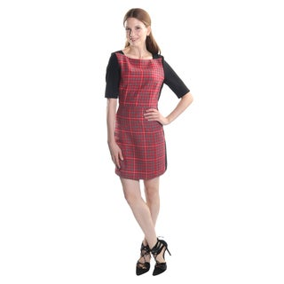Hadari Women's Short Sleeve Square Neck Plaid Business Sheath Dress